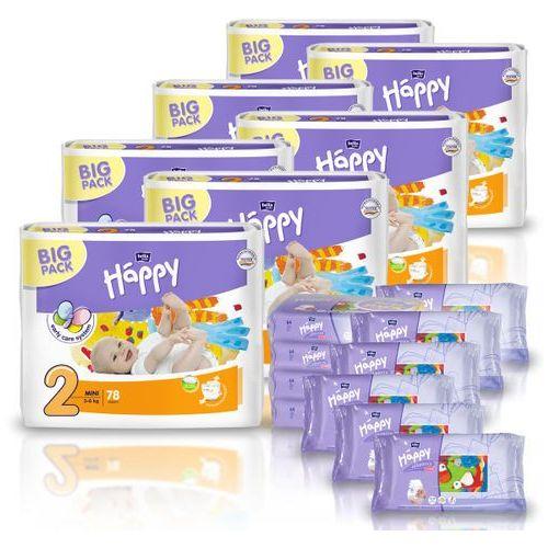 Pieluszki Happy Mini 7x78 szt. + GRATIS 10x Chusteczki nasączone Happy