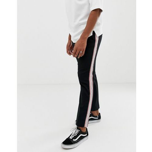 lund tailored trousers in black with side stripe - black marki Weekday