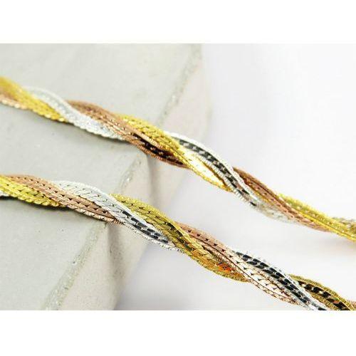 Srebrny (925) łańcuszek taśma trzykolorowa warkocz 50 cm marki Megasilver