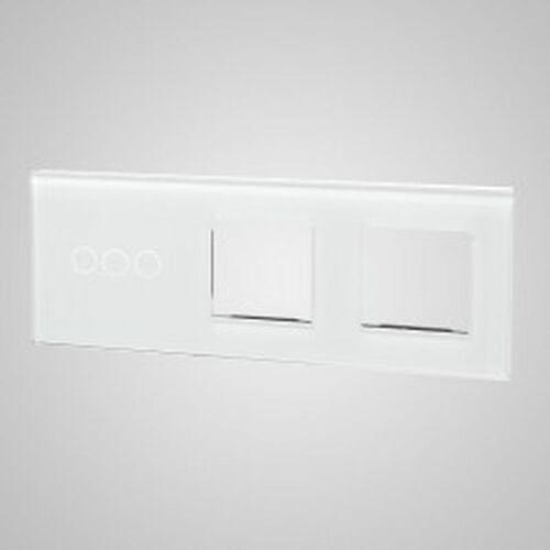 Els elektrotechnika sp. z o.o. sp. k. Touchme duży panel szklany, 1 x łącznik potrójny, 2 x ramka, biały tm703728728w