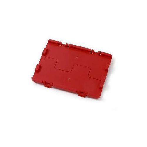 Składana pokrywa z zawiasami, opak. 4 szt., dł. x szer. 600x400 mm, czerwony. Ła