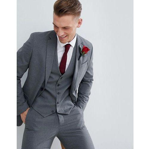 New Look wedding skinny fit suit jacket in mid grey - Black