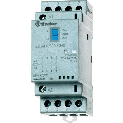 Stycznik modułowy 4 zwierne Auto-On-Off,+ LED, 4NO 25A 230V AC/DC, 22.34.0.230.4340, 22-34-0-230-4340