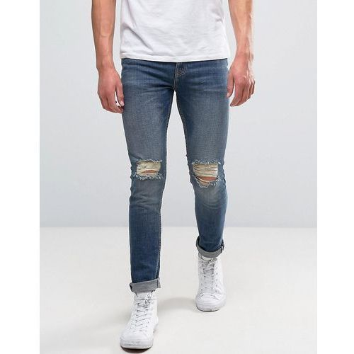 New Look Skinny Jeans With Rips In Blue Mid Wash - Blue