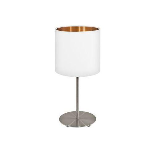 Stojąca LAMPKA stołowa PASTERI 95048 Eglo abażurowa LAMPKA biurkowa okrągła biała, 95048