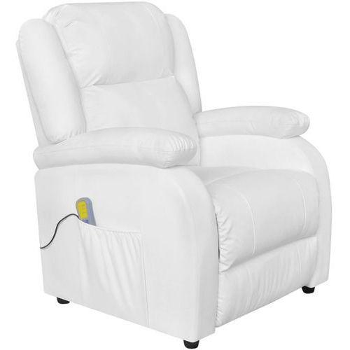 vidaXL Fotel masujący z eko-skóry, elektryczny, regulowany, biały, kolor biały
