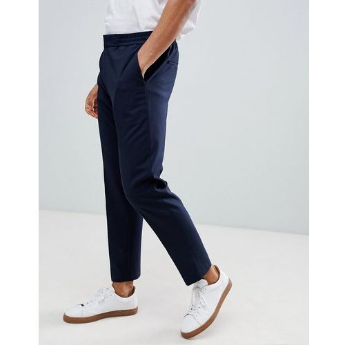 Selected Homme Trouser With Elasticated Waistband In Tapered Fit - Navy, w 2 rozmiarach