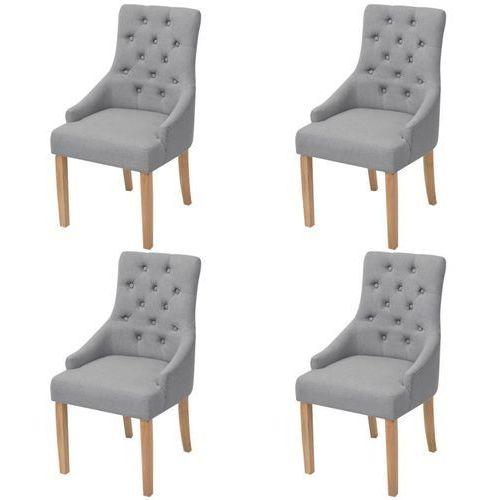 Dębowe krzesła do jadalni, tapicerowane tkaniną, jasnoszare, 4 szt., kolor szary