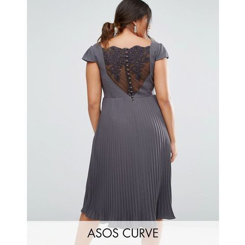 ASOS CURVE WEDDING Lace and Pleat Midi Dress - Grey
