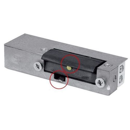 Eura-tech Rygiel elektromagnetyczny (elektrozaczep) re-24g2 asymetryczny z pamięcią i wyłącznikiem 12v ac/dc
