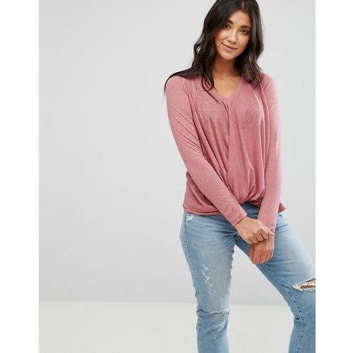 Brave Soul Twist Front Jersey Top - Pink, 1 rozmiar