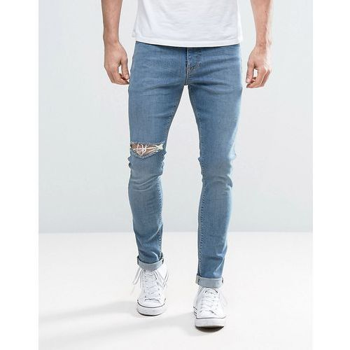 ASOS Super Skinny Jeans With Thigh Rip In Mid Blue - Blue, jeans