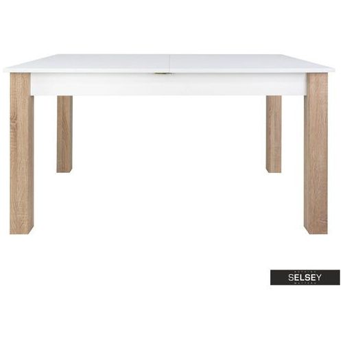 SELSEY Stół rozkładany Eagor 140-190x84 cm biel alpejska - dąb sonoma (5903025385747)
