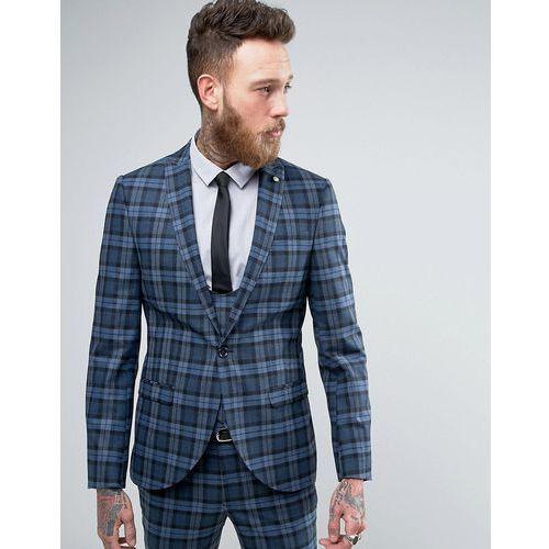 Noose & Monkey Super Skinny Suit Jacket In Check - Blue, kup u jednego z partnerów