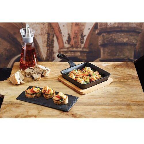 Kitchen craft Patelnia żeliwna kwadratowa z deską do serwowania - (5028250594853)
