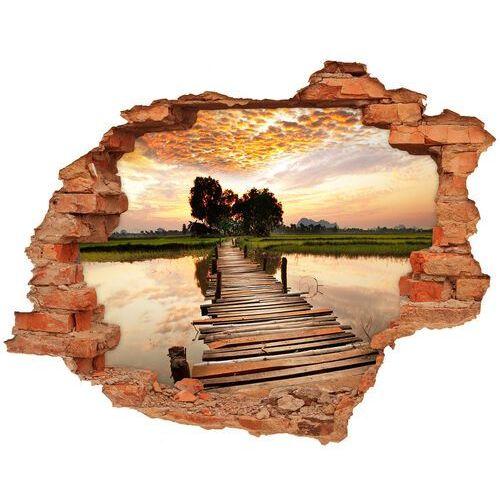 Wallmuralia.pl Dziura 3d w ścianie naklejka drewniany most
