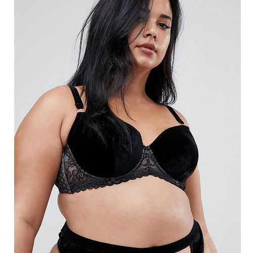 Asos curve Asos design curve valentines emma velvet & lace padded plunge underwire bra - black