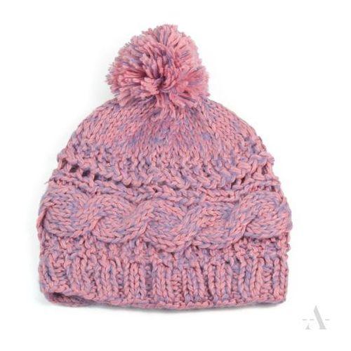 Melanżowa różowo-liliowa czapka damska z pomponem - różowy ||liliowy marki Evangarda