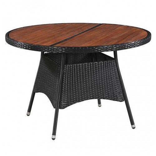 Stół ogrodowy z drewnianym blatem midia - czarny marki Elior