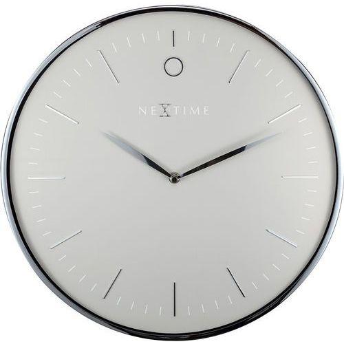 Nowoczesny zegar ścienny Glamour Nextime 40 cm, szary / srebrny (3235 GS)