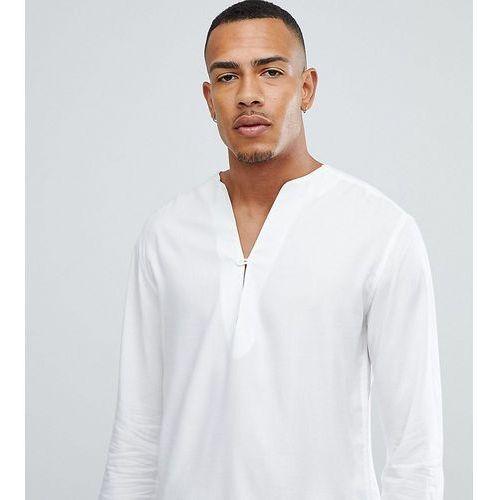 ASOS DESIGN Tall regular fit longline viscose shirt in white with v neck - White, kolor biały