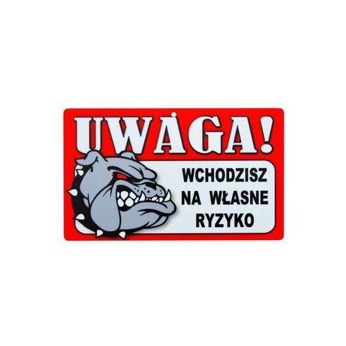 Znak informacyjny UWAGA! WCHODZISZ NA WŁASNE RYZYKO 12 x 20 cm (5901986773917)