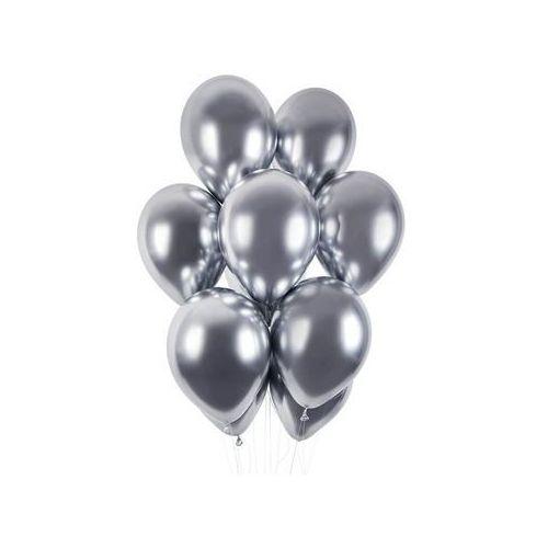 Balony lateksowe shiny srebrne - 33 cm - 5 szt. marki Gemar