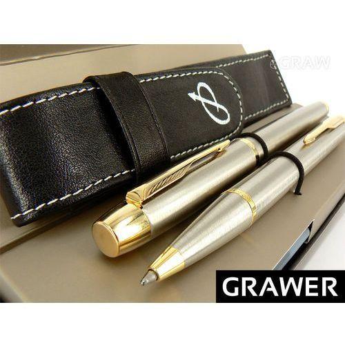 Elegancki zestaw  im brushed pióro wieczne i długopis grawer oryginalne etui z eko - skóry marki Parker