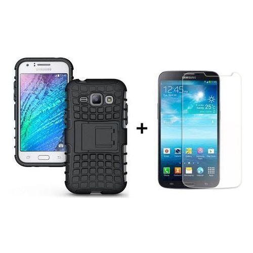 Zestaw Pancerna obudowa etui Perfect Armor Samsung Galaxy J1 Czarna + Szkło ochronne Perfect Glass Samsung Galaxy J1