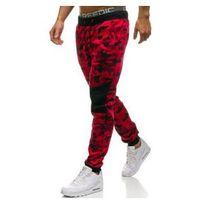 Spodnie męskie dresowe moro-czerwone denley kk07, J.style