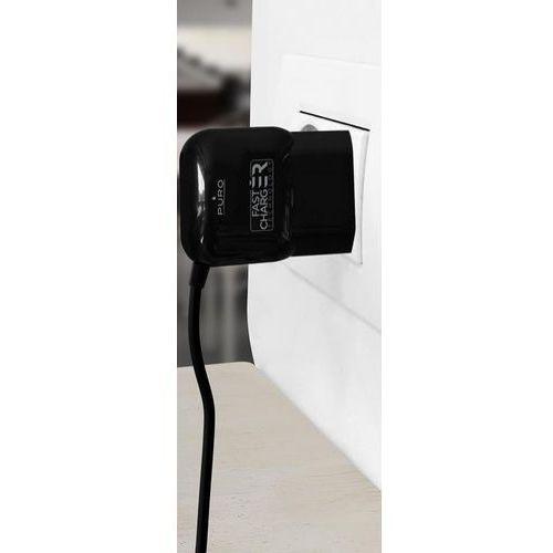 PURO Fast Charger Mini Travel Charger - Uniwersalna ładowarka sieciowa z kablem USB-C o dwustronnym wtyku, 3 A (czarny)