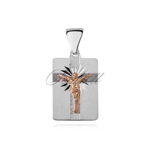 Sentiell Srebrny diamentowany medalik pr.925 jezus na krzyżu, pozłacany - md471gb
