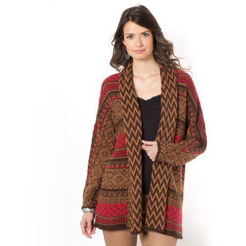 Długi żakardowy sweter