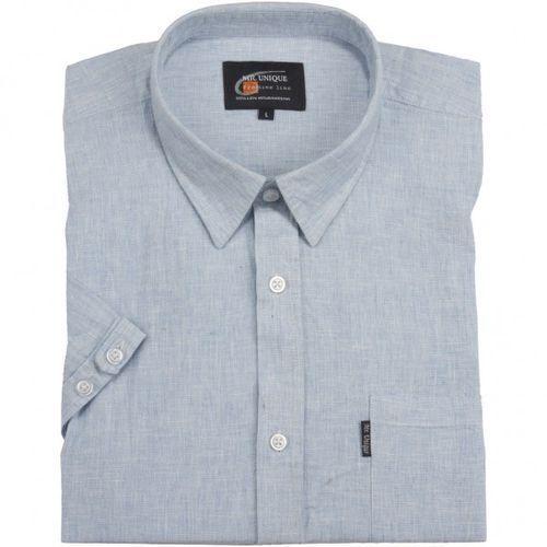 Lniana błękitna koszula męska kr, Mr.unique