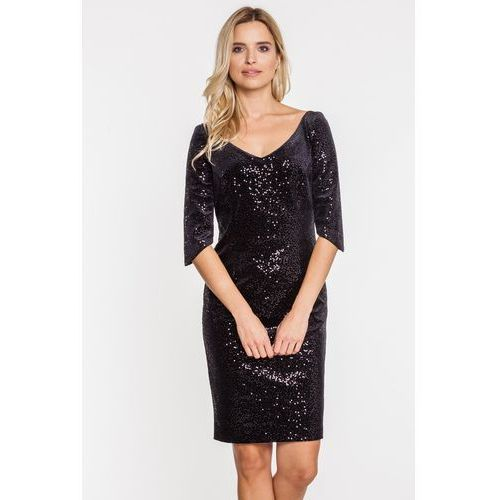Elegancka czarna sukienka z cekinami - Vito Vergelis, 1 rozmiar