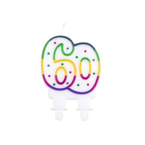 Świeczka na 60-tke kolorową obwódką i kropeczkami - 1 szt. (8712026310866)