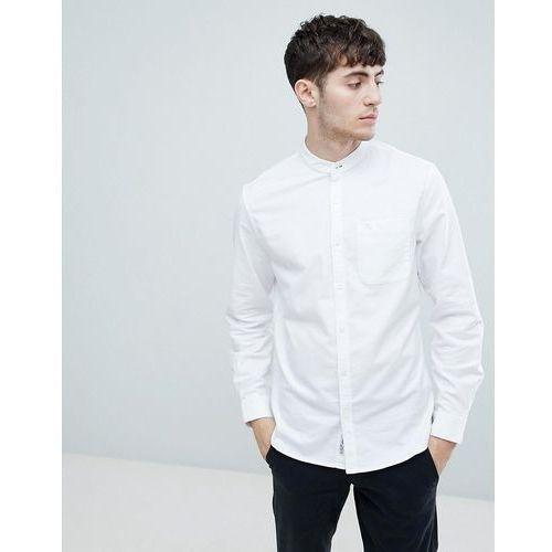 Original penguin grandad collar oxford shirt slim fit tonal logo in white - white