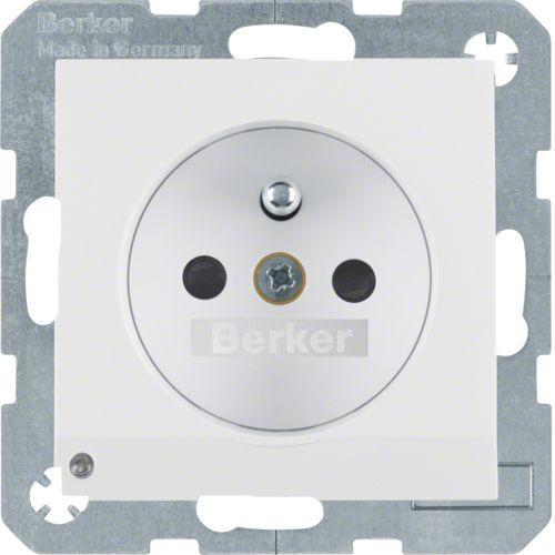 BERKER B.3/B.7 Gniazdo z uziemieniem i podświetleniem orientacyjnym LED, biały, mat 6765101909