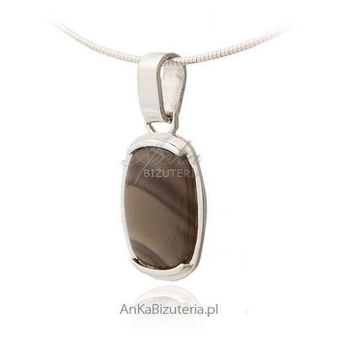 Wisiorek srebrny krzemień pasiasty, kolor szary