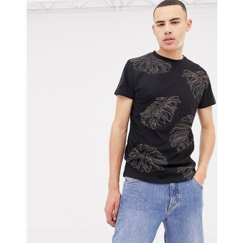 leaf print t-shirt in black - black, Bellfield, S-XL