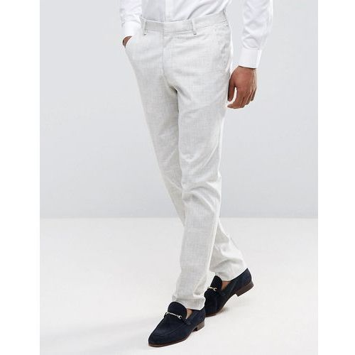 New Look Slim Fit Suit Trousers With Crosshatch Detail In Off White - Grey