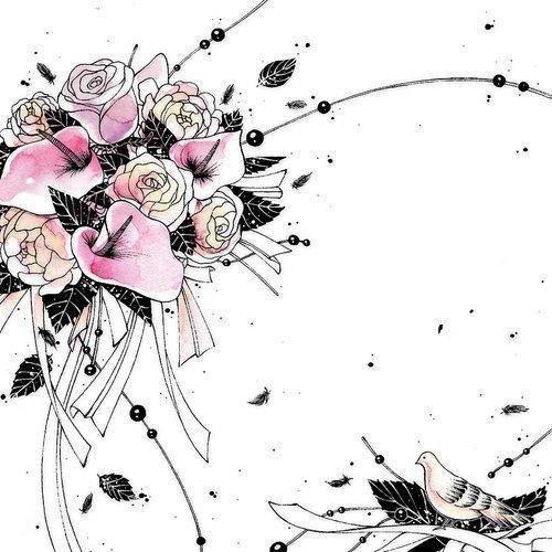 Clear creations Karnet swarovski kwadrat cl2508_bl bukiet kwiatów