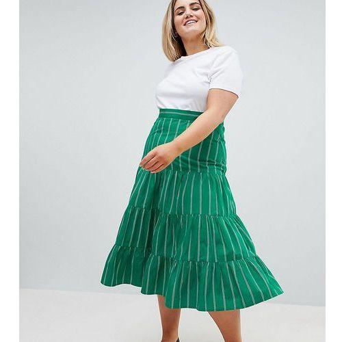 ASOS DESIGN Curve tiered cotton midi skirt in green stripe - Green, kolor zielony