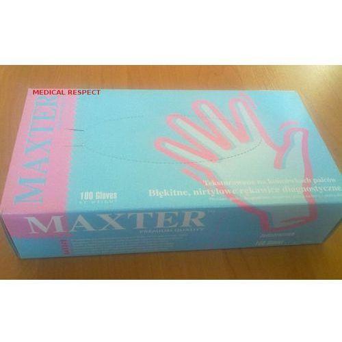 Rękawice nitrylowe bezpudrowe niebieskie L Maxter, 30-11-12