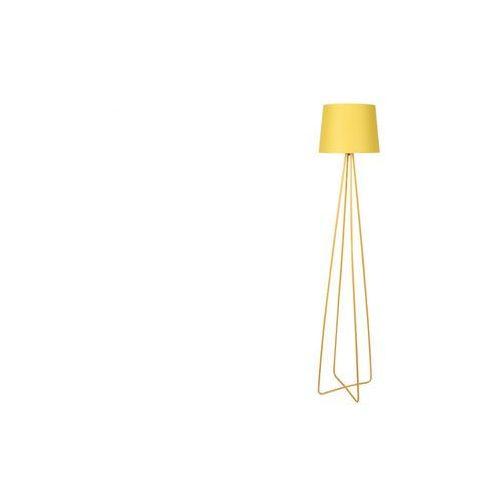 Lampa podłogowa na trójnogu w designerskim stylu COLORIAGE - metal i tkanina - wys. 153 cm - kolor żółty