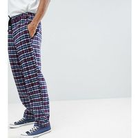 Reclaimed Vintage Inspired Track Trousers In Check - Navy