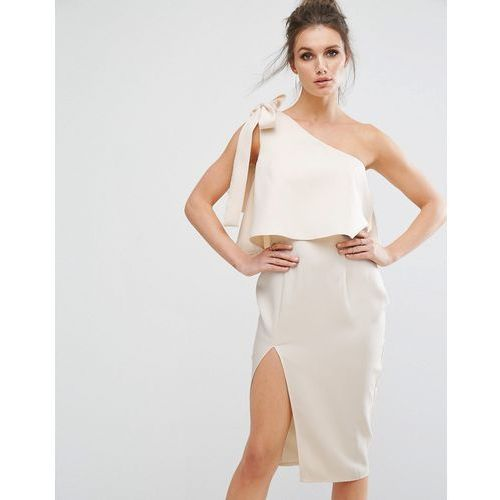 one shoulder bow detail midi dress - pink marki Missguided