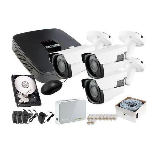 Zestaw do monitoringu: Rejestrator IP BCS-NVR04015ME + 3x Kamera FullHD LV-IP2601IP + Dysk 1TB + Akcesoria, ZM7410