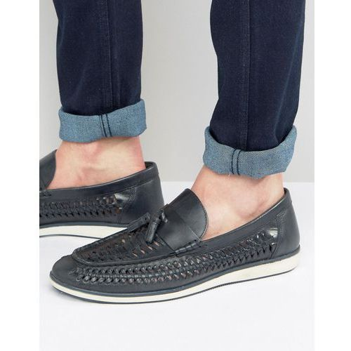 woven tassel loafers in blue leather - blue, Red tape