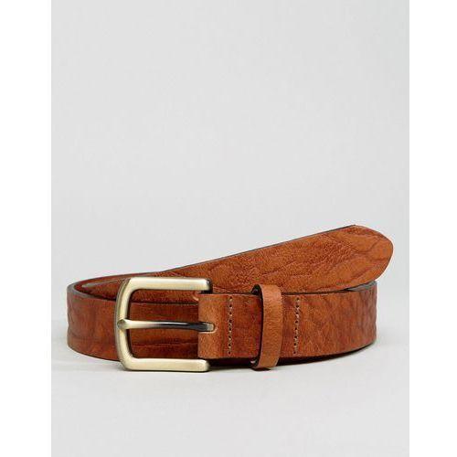 leather slim belt in brown with vintage look and burnished buckle - brown marki Asos
